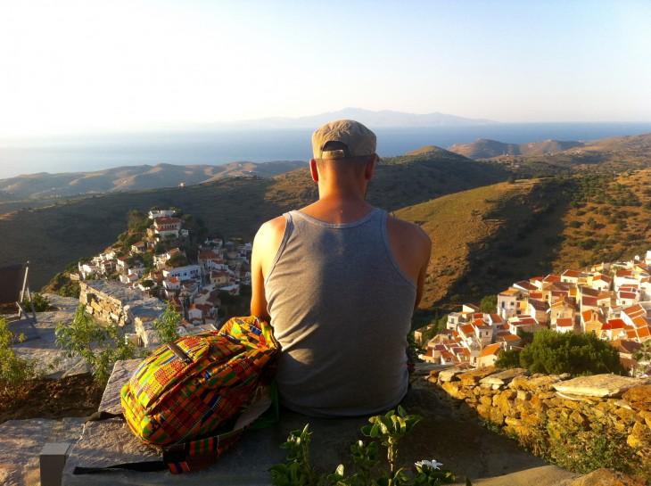 Artist Leonidas overlooking Hora an ancient town on Kean.jpg