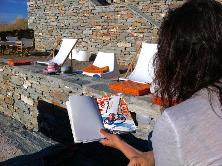 Marina drawing on terrace of the Art House Kea.jpg