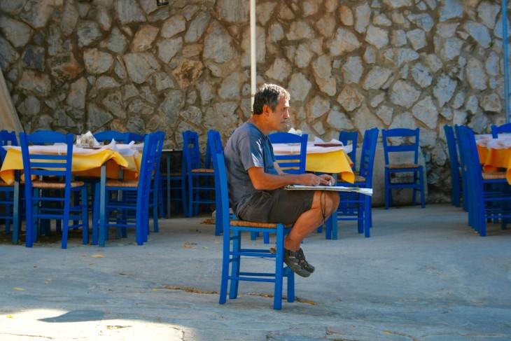 Painter Pavlos Habidis in Kea.jpg