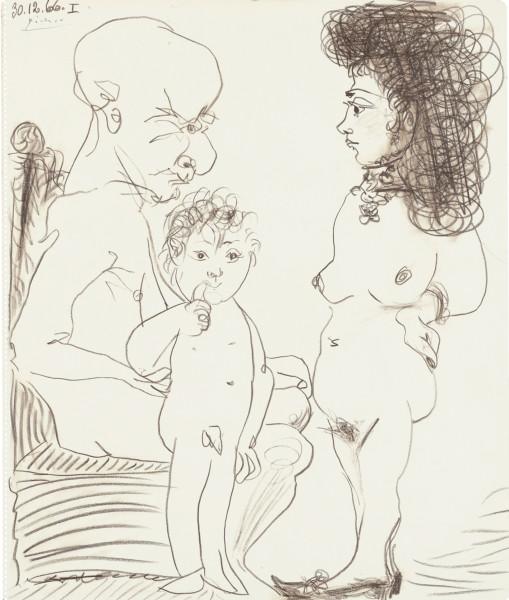 4 Pablo PICASSO, Homme, femme et enfant 30.12.66, crayon de couleur sur papier, 54,5 x 45,5 cm, signé et daté en haut à gauche  - HELENE BAILLY GALLERY.jpg
